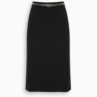 Salvatore Ferragamo Black midi skirt