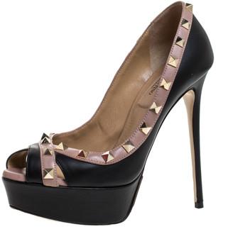 Valentino Black Leather Rockstud Peep Toe Platform Pumps Size 36