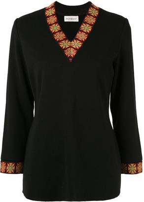 Yves Saint Laurent Pre Owned Patterned Trim Knit Top