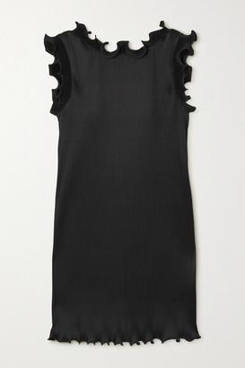 Marc Jacobs Ruffled Plisse Stretch-satin Mini Dress