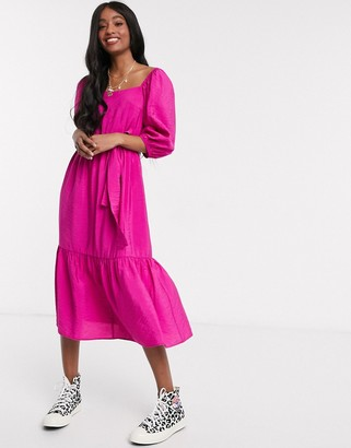 New Look square neck puff sleeve tiered midi in bright pink
