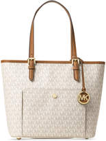MICHAEL Michael Kors Signature Jet Set Item Medium Top Zip Snap Pocket Tote
