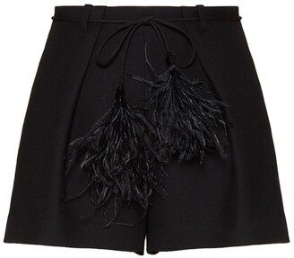 Valentino Crepe Wool-Silk Shorts With Feather Belt