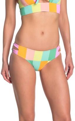 Bikini Lab Striped Cutout Hipster Bikini Bottoms