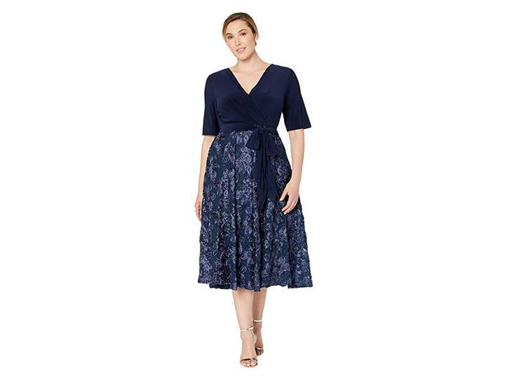 Plus Size Tea Length Dress with Stretch Jersey Top
