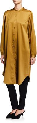 Eileen Fisher Button-Down Recycled Polyester Satin Long Mandarin-Collar Shirt