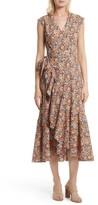 Rebecca Taylor Women's Moonlight Print Poplin Ruffle Wrap Dress