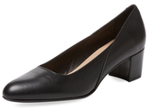 Block Heel Leather Pump