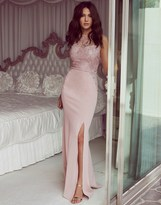 Lipsy Love Michelle Keegan Sequin Halter Maxi Dress