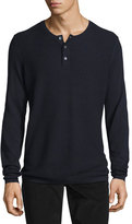 Vince Jersey Mix-Stitch Long-Sleeve Henley T-Shirt, Coastal