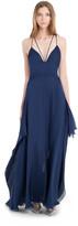 Max Studio Silk Mesh Chiffon Long Halter Dress