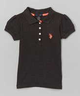 U.S. Polo Assn. Heather Charcoal Four-Button Polo - Girls