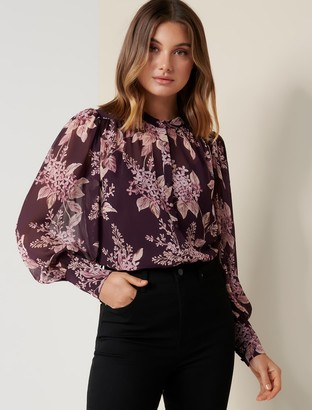 Forever New Clemintine Button-Down Blouse - Plum Floating Blossom - 10