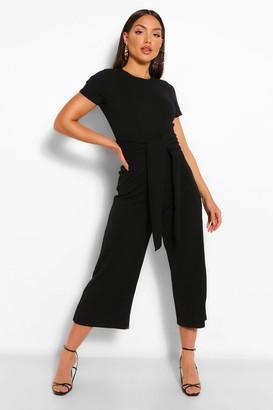 boohoo Wrap Waist Short Sleeve Wide Leg Jumpsuit