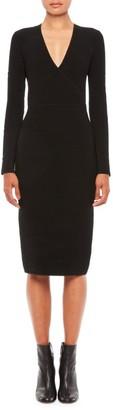 Emporio Armani V-Neck Knit Long-Sleeve Dress