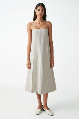 Cos Linen Strapless Tailored Dress