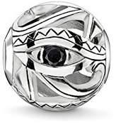 Thomas Sabo Women Men-Bead Eye of Horus Karma Beads 925 Sterling Silver blackened Zirconia black K0228-643-11
