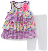 Kids Headquarters Purple Ruffle Top & White Capri Pants - Toddler & Girls