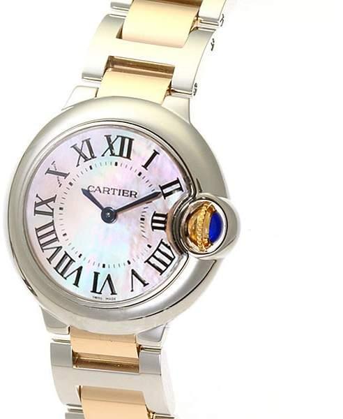 Cartier Ballon Bleu W6920034 Stainless Steel & Pink Gold Pink Pearl Dial 28mm Womens Watch