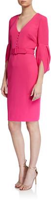 Badgley Mischka V-Neck Tulip-Sleeve Belted Sheath Dress