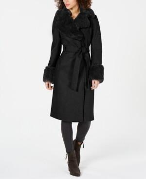 Via Spiga Petite Faux-Fur-Trim Wrap Coat