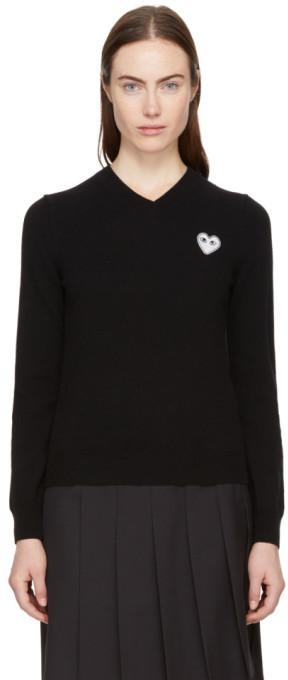Comme des Garcons Black Heart Patch V-Neck Sweater