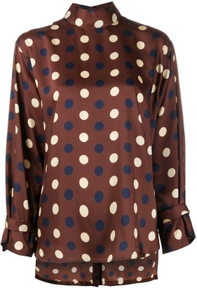 Jejia Geometric Funnel-Neck Blouse