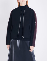Yang Li Exposed seams wool and mohair-blend bomber jacket