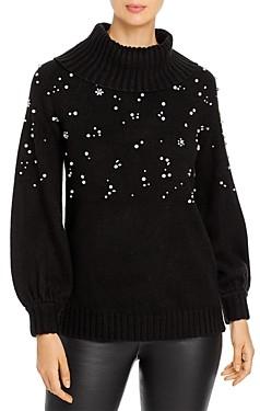 Karl Lagerfeld Paris Embellished Turtleneck Sweater