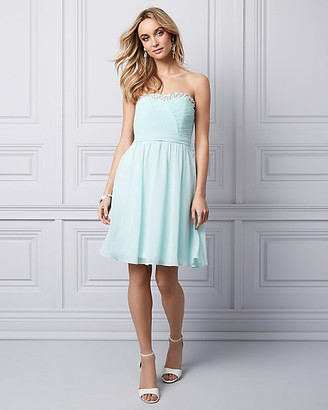 Le Château Beaded Chiffon Strapless Party Dress