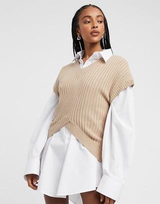 Lost Ink v neck kimono sleeve jumper in wide rib knit