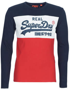 Superdry VINTAGE LOGO PANEL L/S TEE TOPS men's Long Sleeve T-shirt in Red