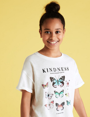 Marks and Spencer Organic Pure Cotton Butterfly T-Shirt (6-14 Yrs)