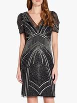 Adrianna Papell Beaded Puff Sleeve Dress, Black/Mercury