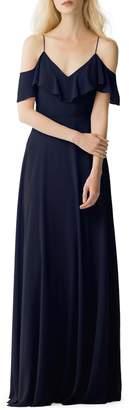 Jenny Yoo Mila Luxe Chiffon Off-Shoulder Dress