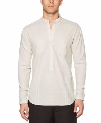 Cubavera Linen-Cotton Banded Collar Popover Shirt