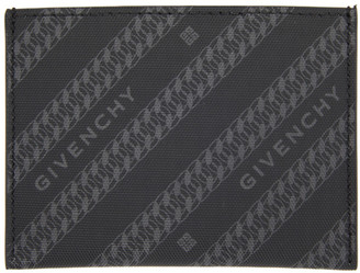 Givenchy Black and Grey Diagonal Logo Card Holder