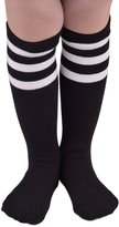 American Trends Girls Triple Stripes Cotton Casual Over Knee High Tube Socks