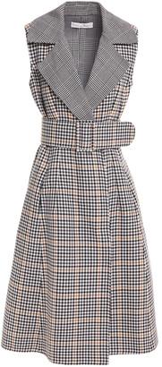 Oscar de la Renta Flared Belted Gingham Wool-felt Midi Dress