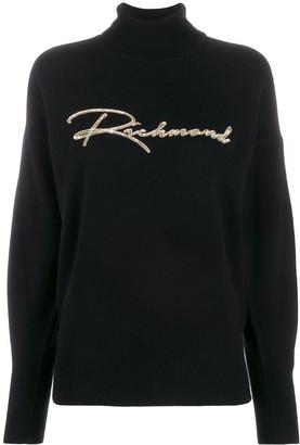 John Richmond Sequin Embroidered Logo Jumper