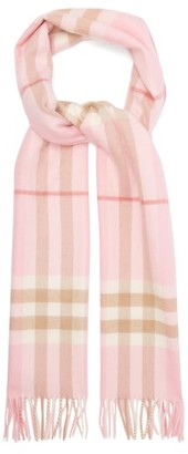 Burberry Checked Cashmere Scarf - Womens - Pink Multi
