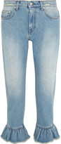 MSGM Distressed Ruffle-trimmed High-rise Straight-leg Jeans - Light denim