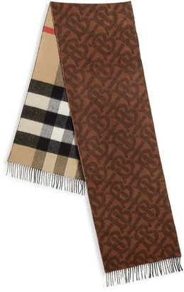 Burberry TB Reversible Check and Monogram Cashmere Scarf