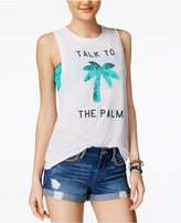 Freeze 24-7 Juniors' Sequined Palm Tree Graphic Tank Top