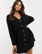 Asos Design DESIGN v neck button through mini smock dress with long sleeves