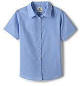 Classic Girls Short Sleeve Broadcloth Shirt-Light Sea Blue