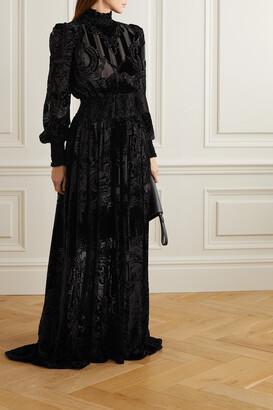 Balmain - Shirred Devore-chiffon Gown - Black