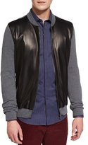 Salvatore Ferragamo Zip-Up Sweater with Lambskin Nappa Front Panels, Gray/Black