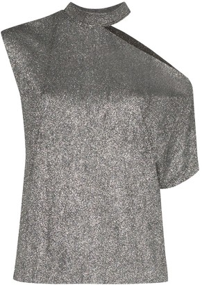 RtA metallic cut-out asymmetric T-shirt