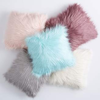 Pottery Barn Teen Fur-rific Faux-Fur Pillow Cover &amp Insert, Blush
